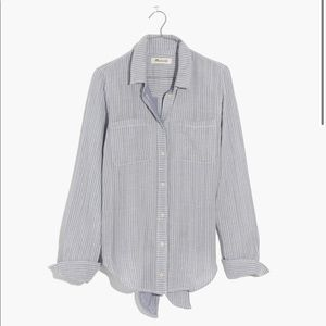 Madewell Striped Tie Back Blouse